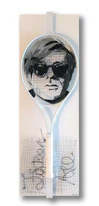 Fifteen All - Andy Warhol tennis racquet portrait art