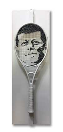 Thirty Five - JFK tennis racquet portrait art