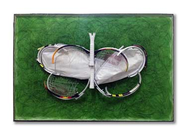 Wings and Losses - Butterfly tennis racquet abstract art